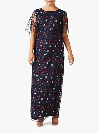 Studio 8 Emily Embroidered Maxi Dress, Navy/Multi