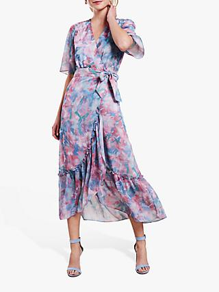 Pure Collection Garden Floral Print Midi Wrap Dress, Pink/Multi