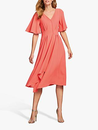 Pure Collection V-Neck Crepe Dress, Coral