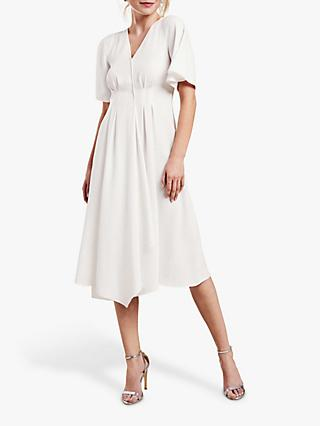 Pure Collection V-Neck Crepe Dress, Ivory
