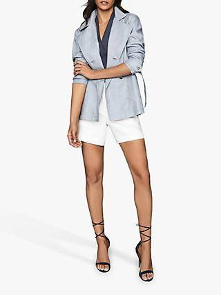 Reiss Arta Linen Belted Tailored Jacket, Pale Blue