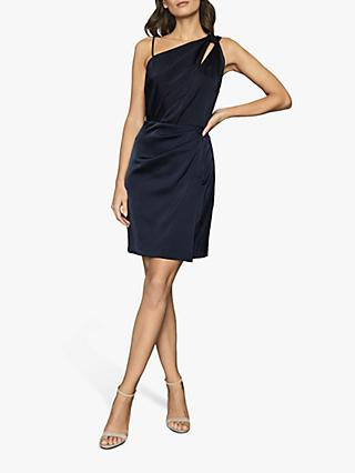 Reiss Adara One Shoulder Satin Dress, Navy