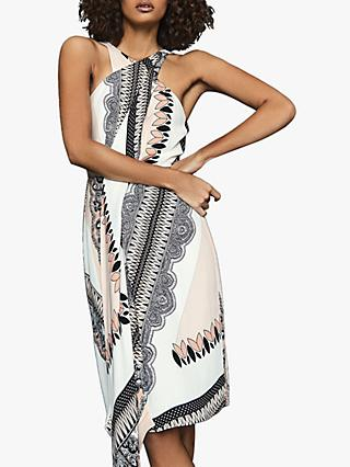 Reiss Hope Scarf Print Dress, Pink/Multi