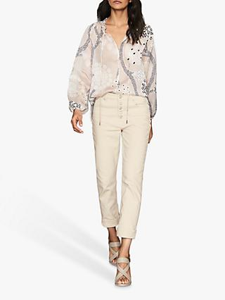 Reiss Hailey Paisley Print Open Neck Blouse, Nude