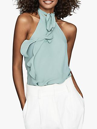 Reiss Rose Halter Neck Ruffle Top