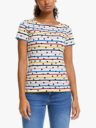 Boden Breton Spot Short Sleeve Top, Multi Stripe/Navy
