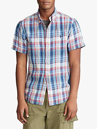 Polo Ralph Lauren Check Linen Shirt, Blue/Cherry