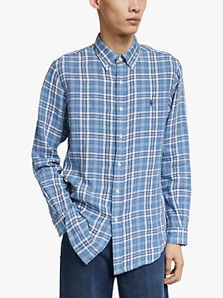 Polo Ralph Lauren Custom Fit Plaid Linen Oxford Shirt, Blue/White