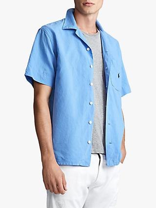 Polo Ralph Lauren Camp Collar Linen Blend Shirt, Swim Shop Light Blue