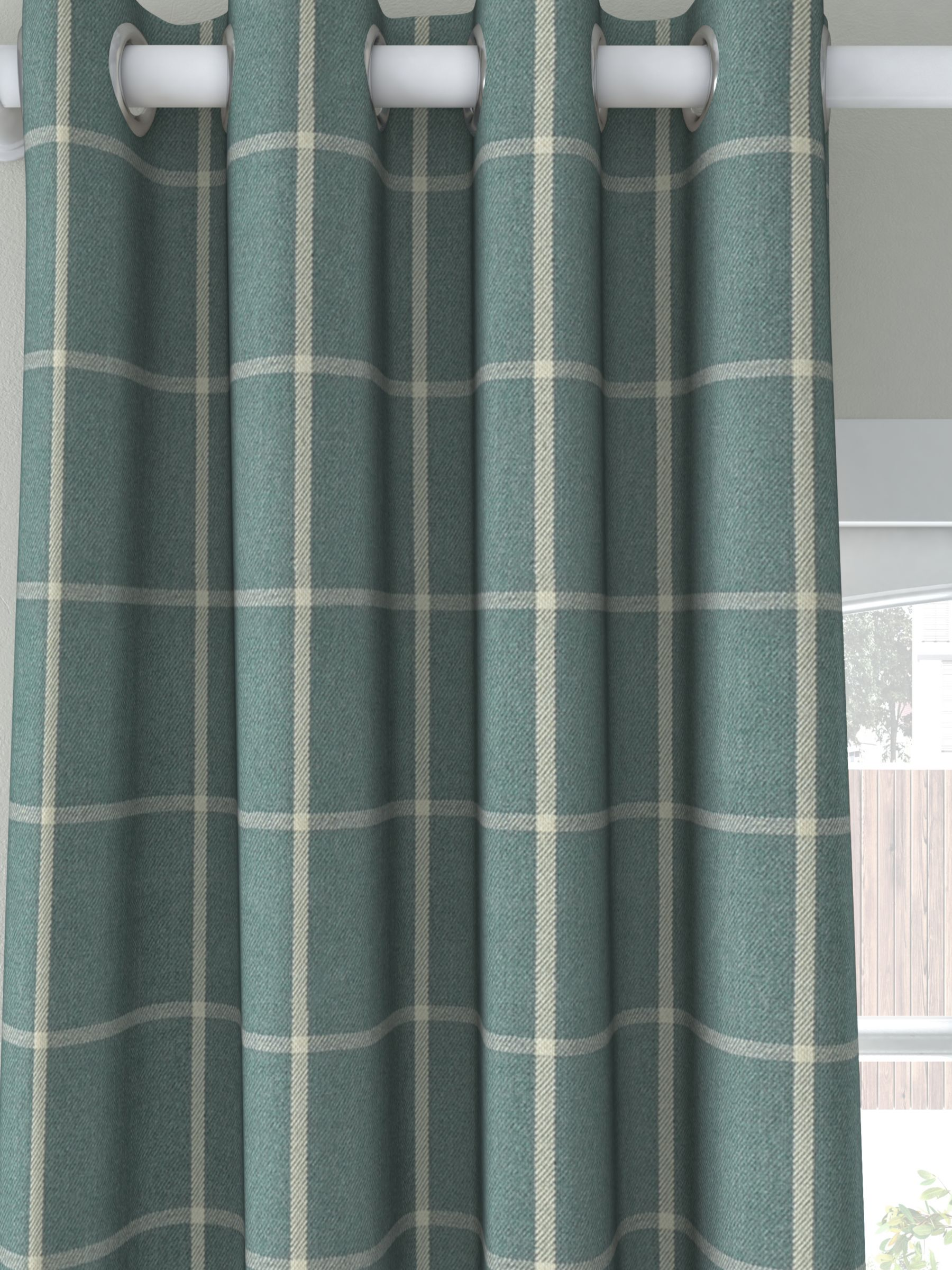 John Lewis & Partners Check Pair Lined Eyelet Curtains, Nettle