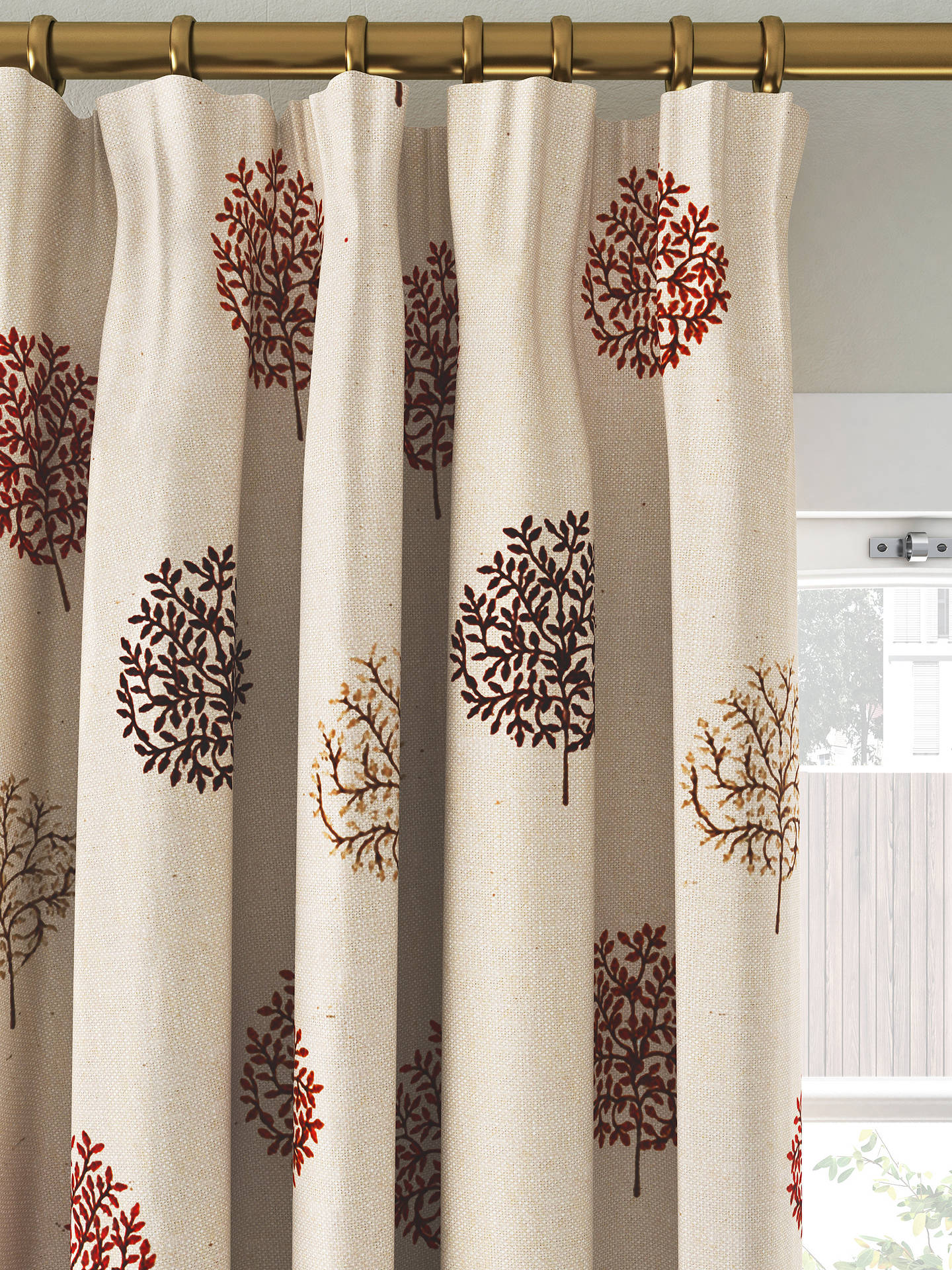 Buy John Lewis & Partners Mini Olive Trees Pair Lined Pencil Pleat Curtains, Red, W167 x Drop 137cm Online at johnlewis.com