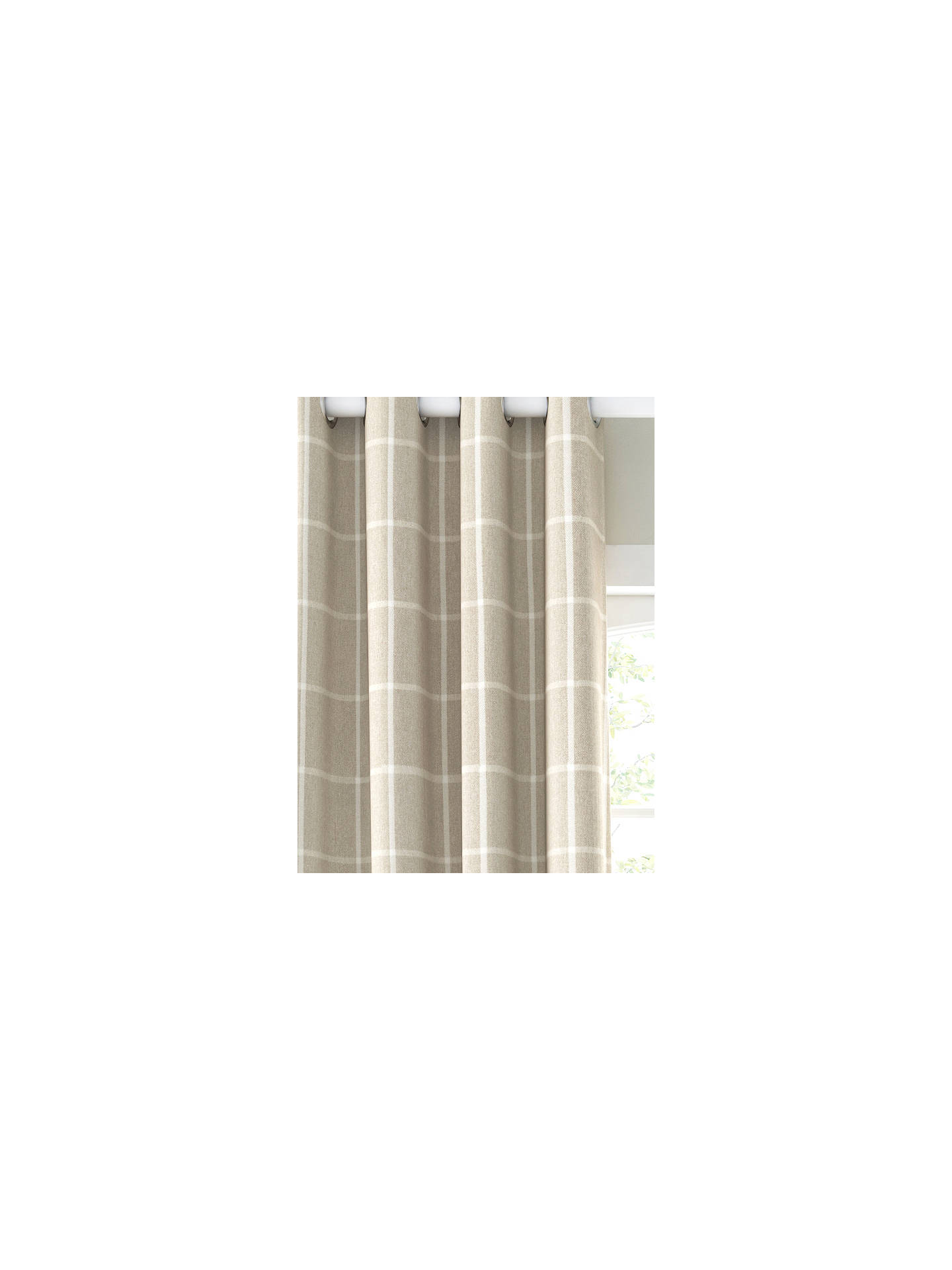 Buy John Lewis & Partners Check Pair Lined Eyelet Curtains, Putty, W167 x Drop 228cm Online at johnlewis.com