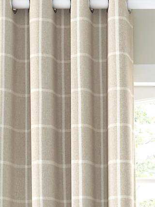 John Lewis & Partners Check Pair Lined Eyelet Curtains