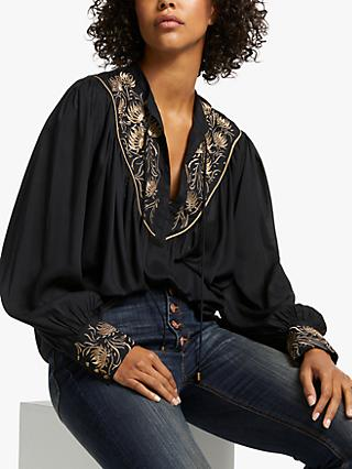 AND/OR Uma Embroidered Blouse, Black