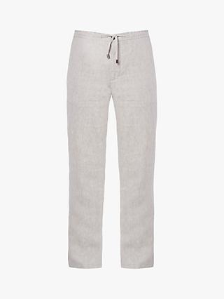 Jaeger Relaxed Linen Trousers, Stone
