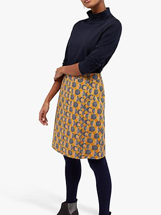 White Stuff Cumulus Wrap Skirt, Ochre Yellow Print