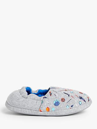 John Lewis & Partners Children's Space Slippers, Grey