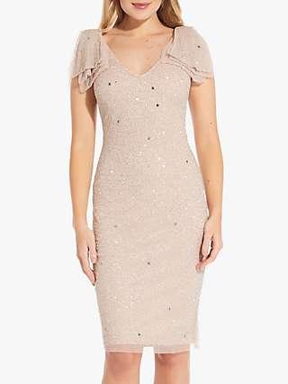 Adrianna Papell Beaded Angel Sleeve Cocktail Dress, Almond Cream