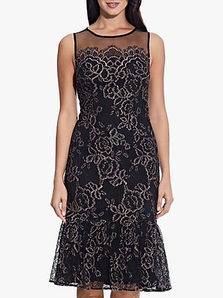 Adrianna Papell Maria Floral Lace Midi Dress, Blush/Black