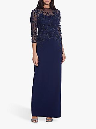 Adrianna Papell Beaded Column Gown, Navy