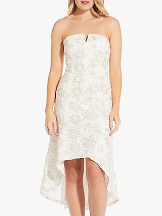 Adrianna Papell Guipure Bardot Lace Dress, Ivory/Gold