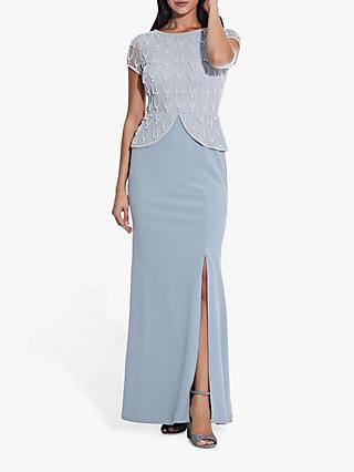 Adrianna Papell Beaded Crepe Peplum Gown, Blue Heather