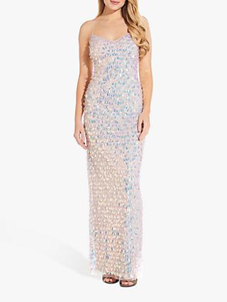 Adrianna Papell Beaded Slim Gown, Shell Pink