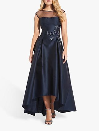 Adrianna Papell Mikado High Low Hem Dress, Midnight Blue