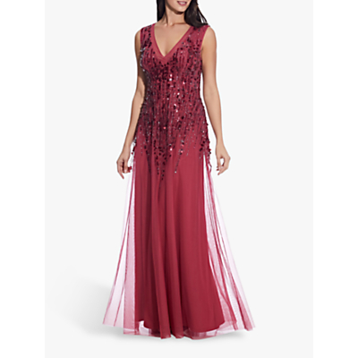 Product photo of Adrianna papell sequin a - line gown dusty rouge