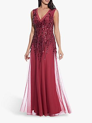 Adrianna Papell Sequin A-Line Gown, Dusty Rouge