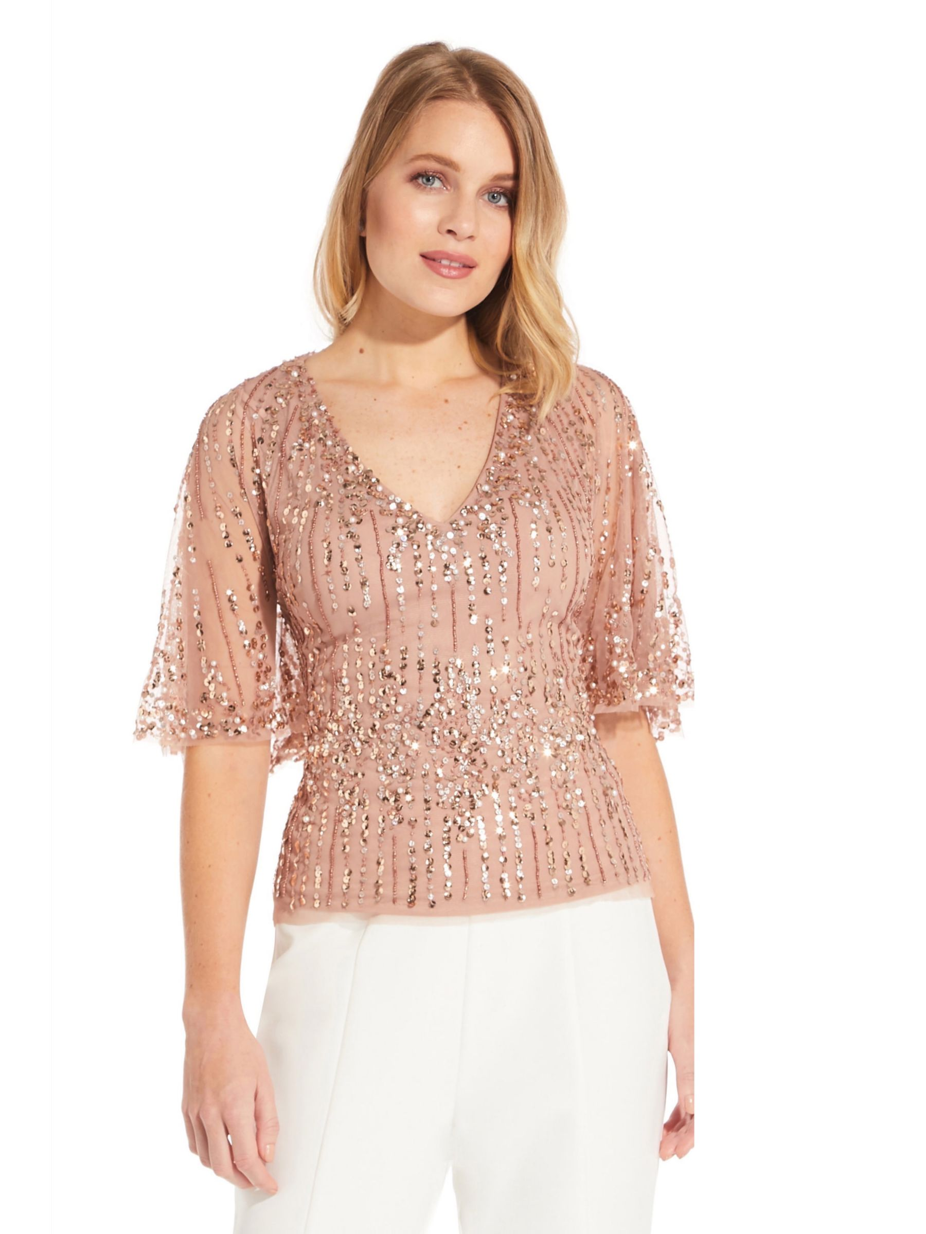 Adrianna Papell Adrianna Papell Beaded Half Cape Top, Rose Gold