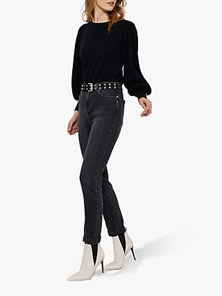Mint Velvet Houston Washed Slim Jeans, Black