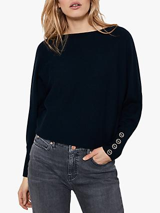 Mint Velvet Buttoned Batwing Jumper, Navy