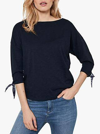 Mint Velvet Tie Sleeve Jersey Top, Dark Blue