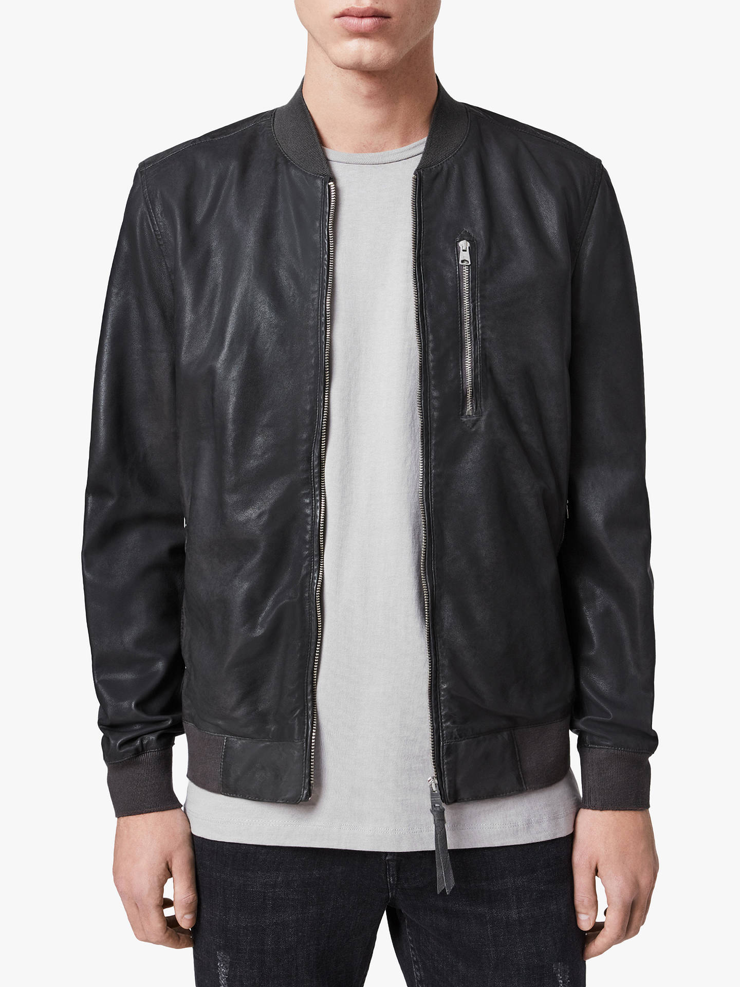 AllSaints Kino Leather Bomber Jacket, Deep Slate at John
