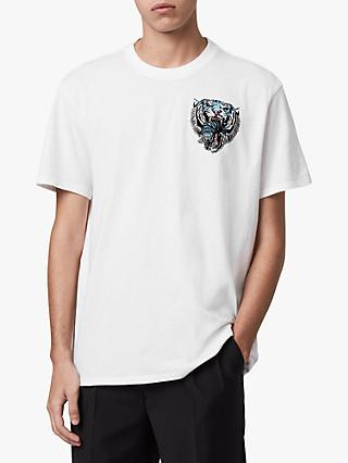 AllSaints Twin Tiger Crew T-Shirt, Optic White