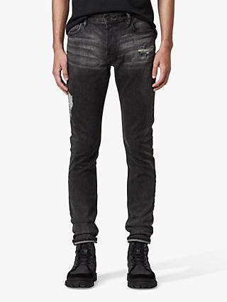 AllSaints Rex Damaged Slim Jeans, Washed Black