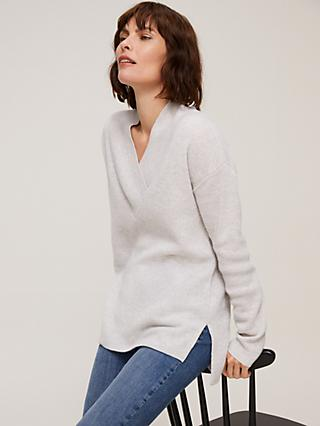 John Lewis & Partners Cashmere Wrap V-Neck Jumper, Light Grey