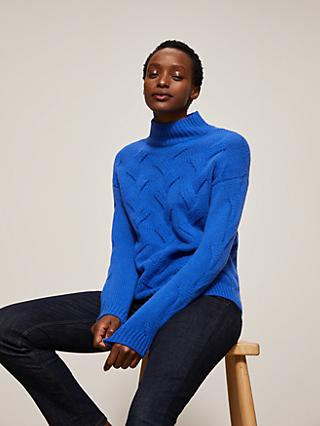 John Lewis & Partners Cashmere Cable Turtle Neck Jumper