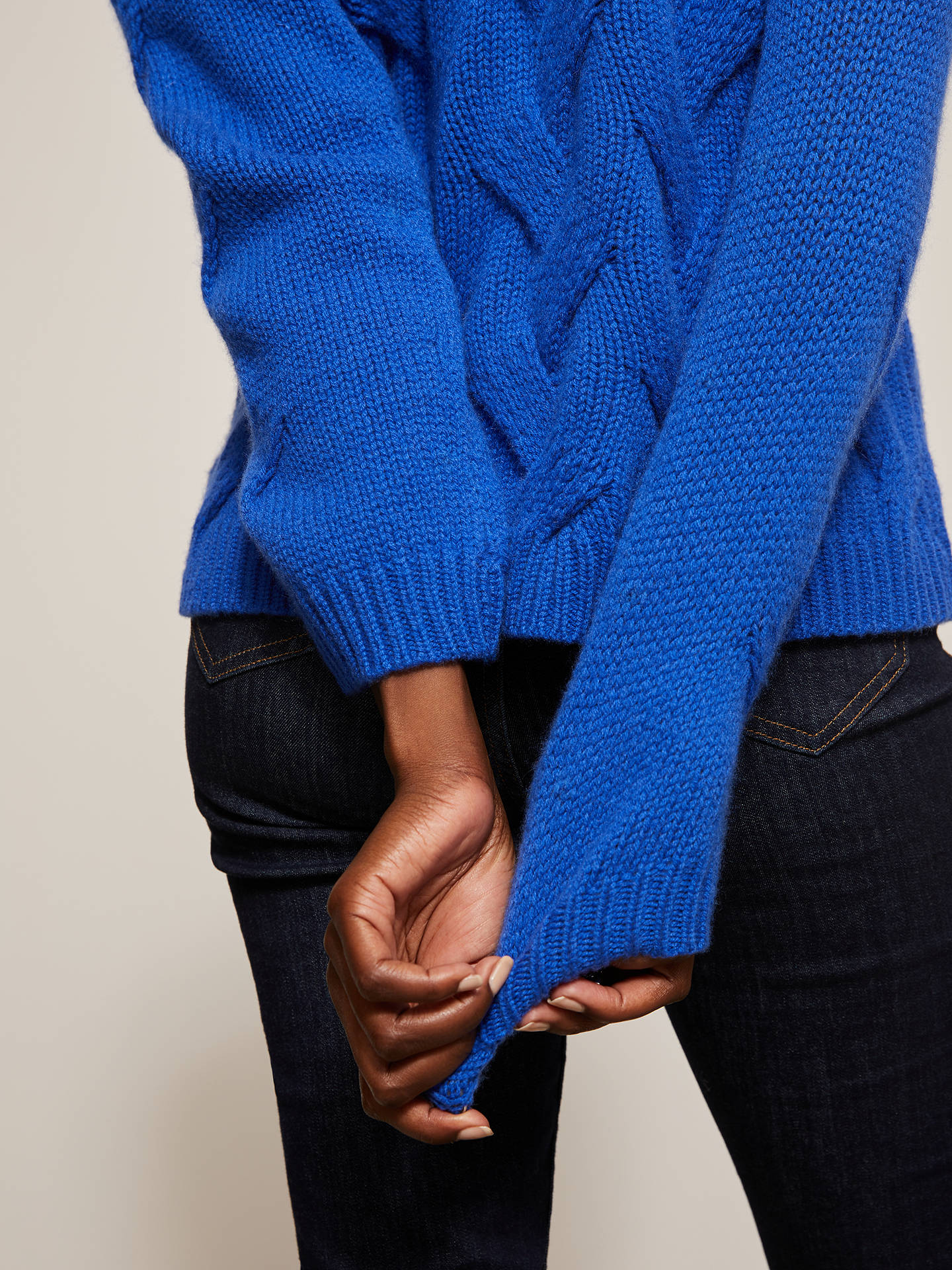 Buy John Lewis & Partners Cashmere Cable Turtle Neck Jumper, Blue, 14 Online at johnlewis.com