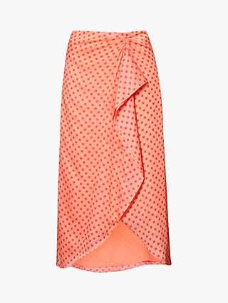 Ted Baker Tiara Contrast Spot Wrap Skirt, Coral