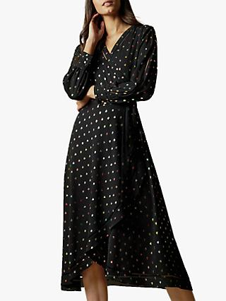 Ted Baker Tanise Metallic Fleck Wrap Midi Dress, Black