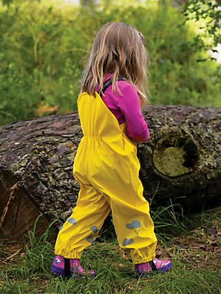Frugi Children's Puddle Buster Rain Cloud Trousers, Sunflower Yellow