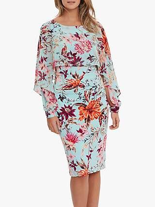 Gina Bacconi Marlayna Floral Chiffon Cape Dress, Turquoise
