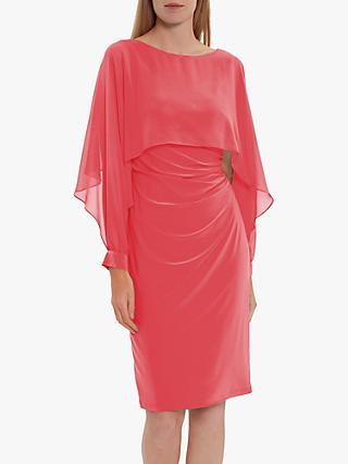 Gina Bacconi Olma Chiffon Cut Out Sleeve Dress, Coral