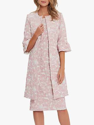 Gina Bacconi Greta Frill Cuff Jacquard Coat, Pink