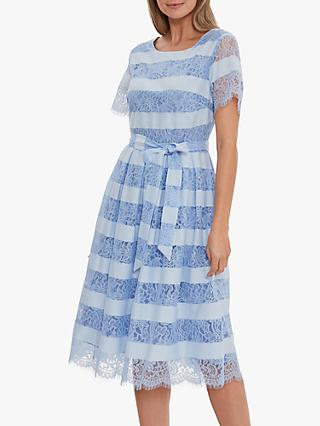 Gina Bacconi Seisia Floral Embroidery Stripe Flared Dress, Light Blue