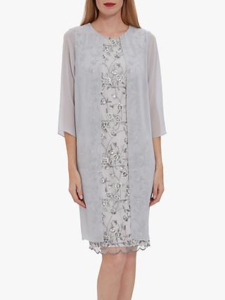 Gina Bacconi Leora Lace Chiffon Over Dress, Grey