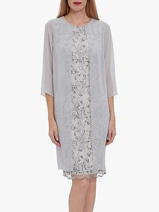 Gina Bacconi Leora Lace Chiffon Over Dress, Grey