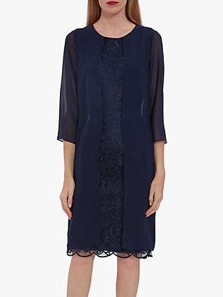 Gina Bacconi Lorca Lace Chiffon Dress, Spring Navy